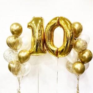 Фонтан из воздушных шаров с цифрой 10 золото