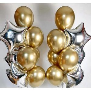 Набор из воздушных шаров (золото серебро)