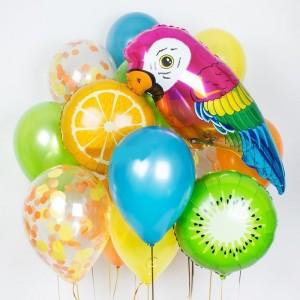 Фонтан из шаров (фрукты и попугай)
