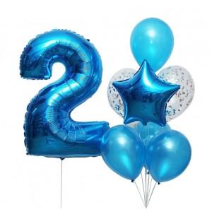 Фонтан из шаров с цифрой 2 цвет синий