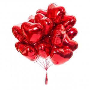 Облако из фольгированных шаров (Сердце)