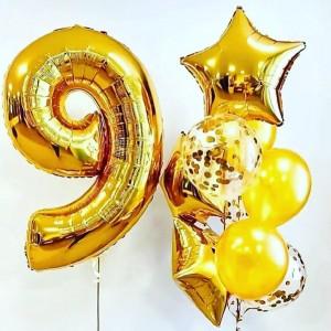Композиция из шаров золото с цифрой