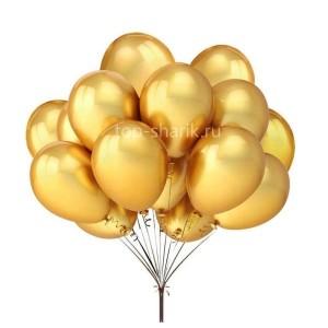 Облако шаров с гелием хром золото