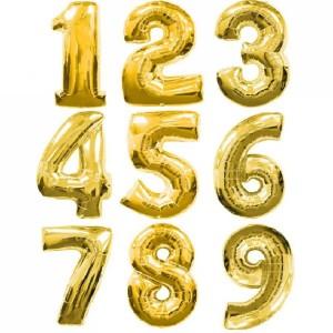Цифры фольгированные золото